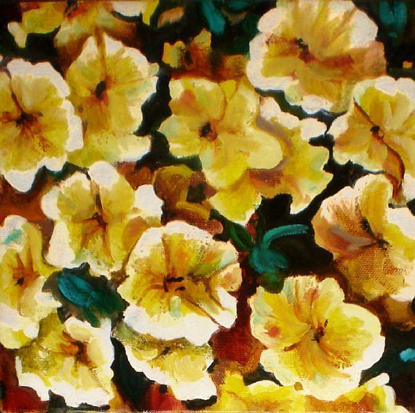 Art: Yellow Petunias by Artist Lisa Thornton Whittaker