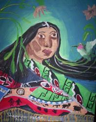 Art: Native American Woman in Blanket by Artist Confuzzled Shannon