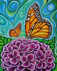 Art: Monarch on Hydrangea by Artist Javier Martinez
