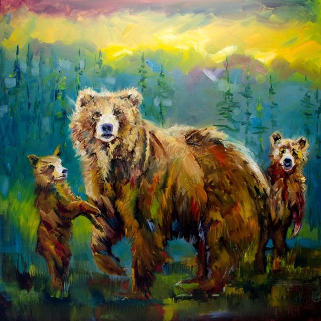 Art: Momma Protecting cubs by Artist Diane M Whitehead
