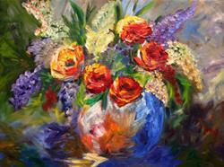 Art: Roses and Lupine by Artist Mary Jo Zorad