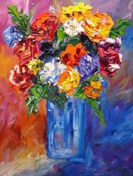 Art: blue vase floral 2336 by Artist Mary Jo Zorad