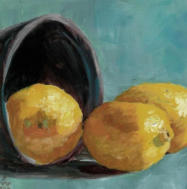 Art: Pail With Lemons  by Artist Kimberly Vanlandingham
