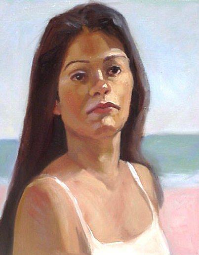 Art: Jennifer on Beach by Artist Debra Schott