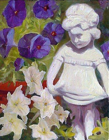 Art: Perky Plein-Air Potted Petunias  by Artist Debra Schott