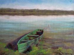 Art: Green Boat by Artist Kimberly Vanlandingham
