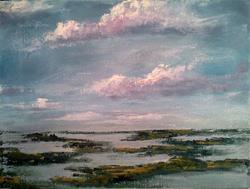 Art: Evening Clouds & Salt Marsh 2013 by Artist Kimberly Vanlandingham