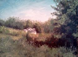 Art: White Cottage, Marshall Road, Kenton County KY, 2013 by Artist Kimberly Vanlandingham