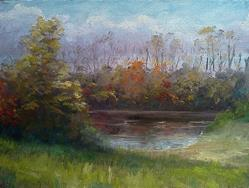 Art: Pond, Independence KY, Marshall Rd, 2013 by Artist Kimberly Vanlandingham
