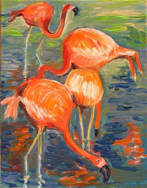 Art: Pink Flamingos by Artist Luda Angel