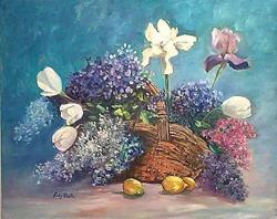 Art: Grandma's Flowers with Lemons by Artist Ulrike 'Ricky' Martin