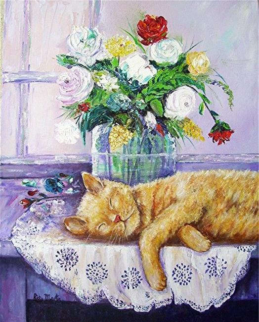 Art: Rose Bouquet with Kitty by Artist Ulrike 'Ricky' Martin