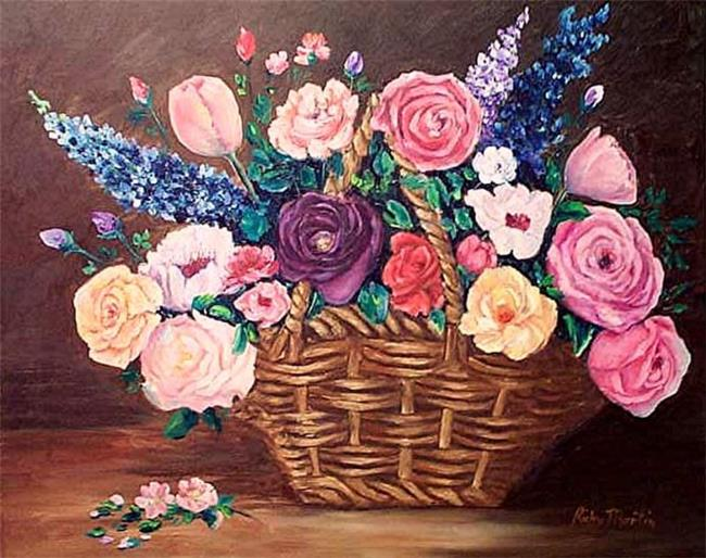 Art: Basket of old fashioned Roses by Artist Ulrike 'Ricky' Martin