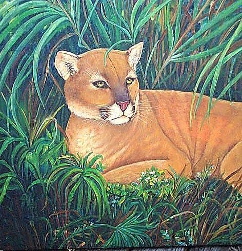 Art: Threatened Florida Panther by Artist Ulrike 'Ricky' Martin