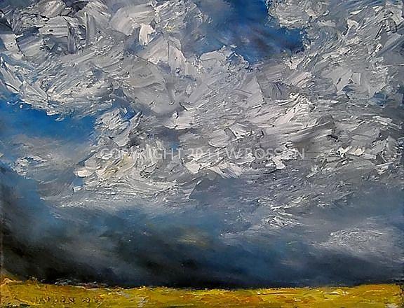 Art: Bright Yellow Field & Thunderstorm by Artist Windi Rosson
