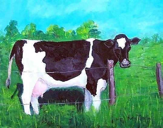 Art: Holstein Cow (sold) by Artist Ulrike 'Ricky' Martin