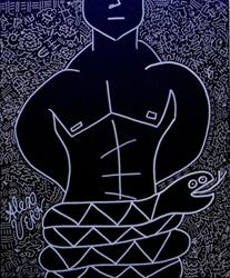 Art: Male Torso Cubist Pop Art by Artist Alex Vera Pop Art
