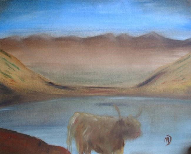 Art: Highlander and Loch by Artist Martin Devine