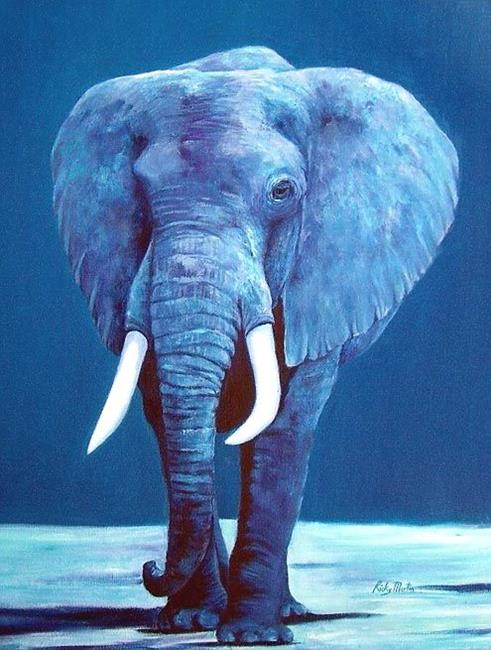 Art: Blue Elephant  (The Old Rogue) - sold by Artist Ulrike 'Ricky' Martin