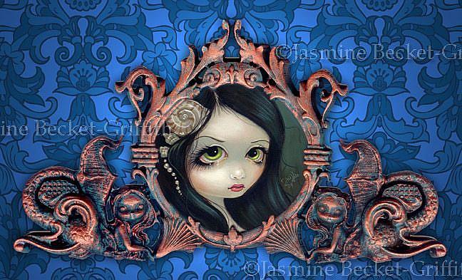Art: Pale Green Eyes (with original Strangeling Frame) by Artist Jasmine Ann Becket-Griffith
