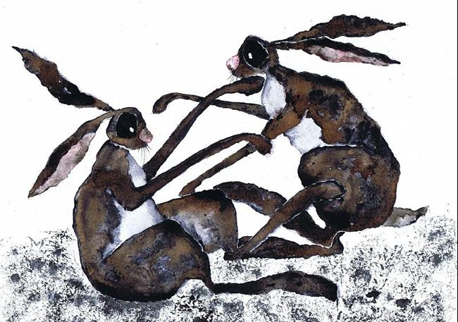 Art: BOXING HARES h1901 by Artist Dawn Barker