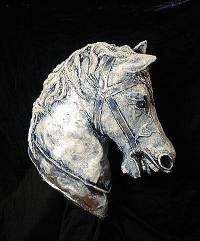Art: Horse Head Sculpture by Artist Patience