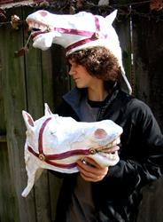 Art: Trashion:  A Pair of Lovely Horse Hats by Artist Patience
