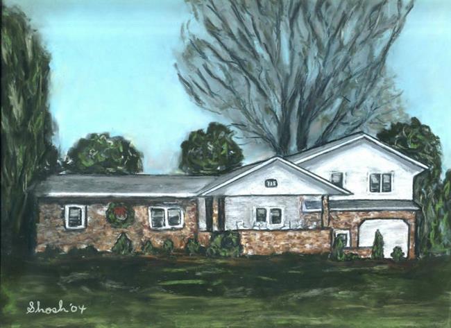 Art: Portrait of Michelle's House by Artist Shoshana Avramovitz