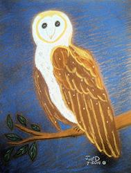 Art: Owl On Branch 1 by Artist Dee Turner