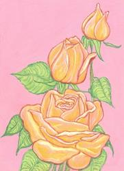Art: Yellow Roses by Artist Paula M Parker