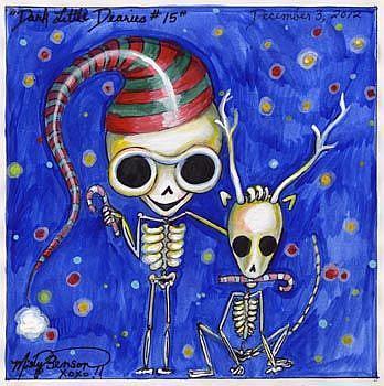 Art: Dark Little Dearies #15 - Skeleton Christmas Art by Artist Misty Monster (Benson)