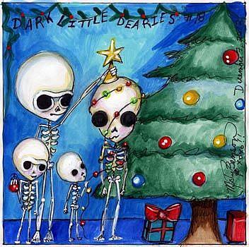 Art: Dark Little Dearies #18 - Skeleton Christmas Art Gothic Fantasy by Artist Misty Monster (Benson)