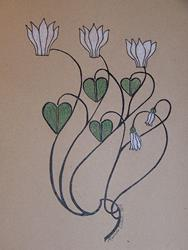 Art: White Cyclamen by Artist Marcine (Marcy) Dillon