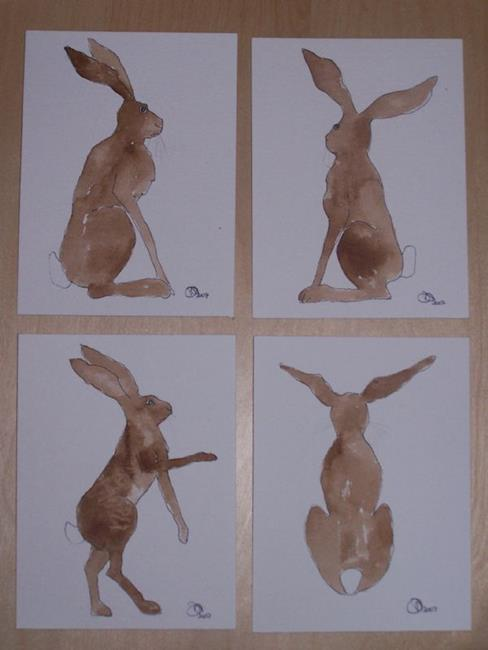 Art: HARES four paintings by Artist Dawn Barker