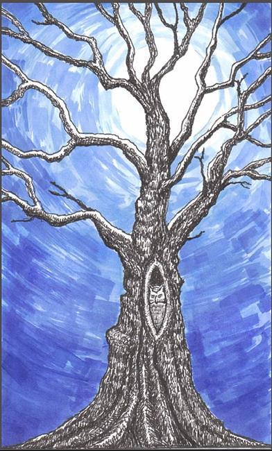 Art: Full Moon Owl by Artist Revere J