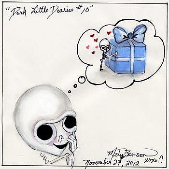Art: Dark Little Dearies #10 - Skeleton Cartoon Art by Artist Misty Monster (Benson)