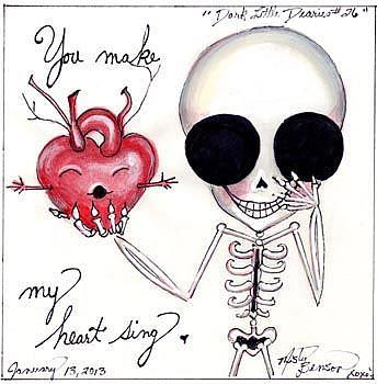 Art: Dark Little Dearies 26 - Skeleton Art Day of the Dead Valentine by Artist Misty Monster (Benson)