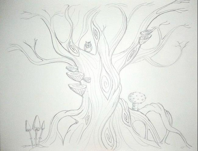 Art: Twisty Tree sketch by Artist Jane Gould
