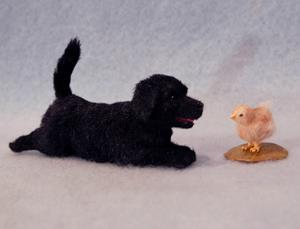 Detail Image for art Black Lab Puppy and Chick