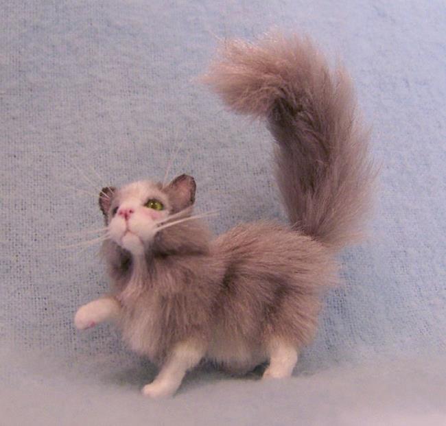 Art: Silk Furred Grey Cat by Artist Camille Meeker Turner
