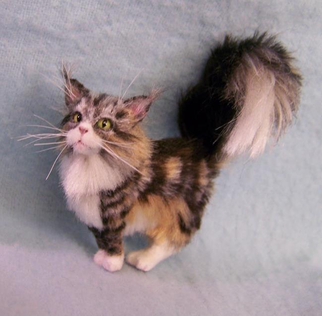 Art: Silk Furred Maine Coon Cat by Artist Camille Meeker Turner