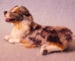 Detail Image for art Silk Furred Blue Merle Australian Shepherd, 1/12th Scale