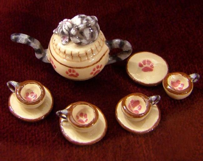 Art: Cozy Kitten Tea Set by Artist Camille Meeker Turner