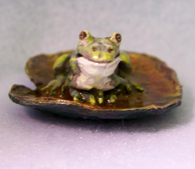 Art: Bullfrog on Lily Pad by Artist Camille Meeker Turner