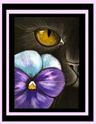 Art: Cat Behind the Pansy Flower /EBSQ Award Winner by Artist Cyra R. Cancel