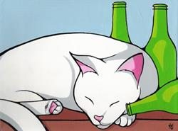 Art: Cat With Hangover by Artist Kris Jean