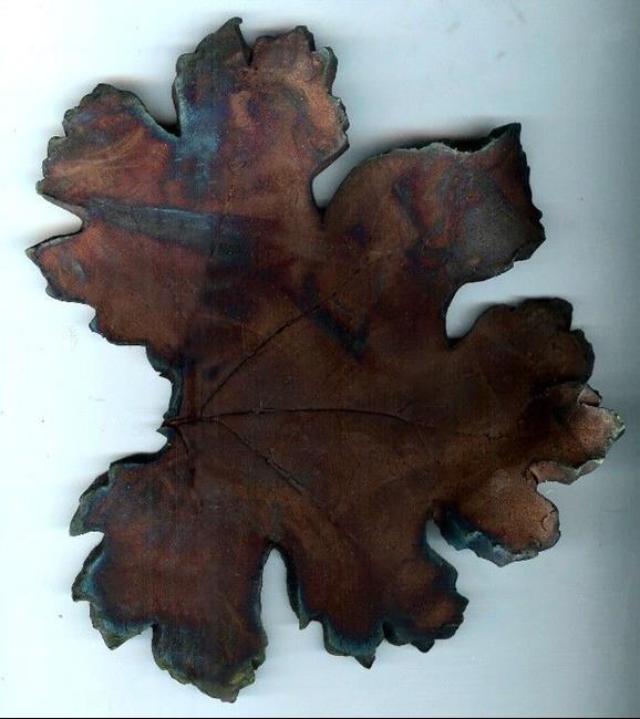 Art: Raku Fall Leaf by Artist Deborah Sprague