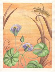Art: water lily and the dragonfly by Artist pamela jean lacasse