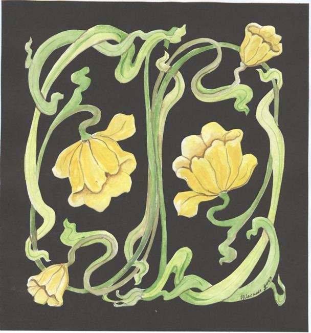 Art: yellow art nouveau lily by Artist pamela jean lacasse