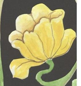 Detail Image for art yellow art nouveau lily